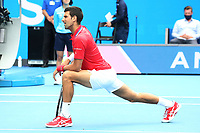 5th February 2021; Melbourne, Australia;   Novak Djokovic, SRB, warming up during 2021 Melbourne Summer Series ATP, Tennis Mens Cup Australian Open pre-tournaments