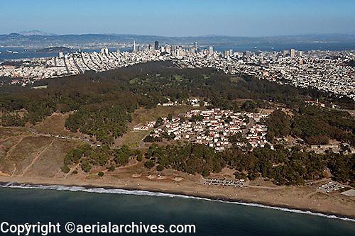 aerial photograph of Baker Beach, Presidio, San Francisco, California with the San Francisco skyline in the background
