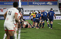 6 March 2021; Ulster set their defensive line during the Guinness PRO14 match between Ulster and Leinster at Kingspan Stadium in Belfast. Photo by John Dickson/Dicksondigital