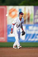 Auburn Doubledays shortstop Clayton Brandt (3) during a game against the Williamsport Crosscutters on June 26, 2016 at Falcon Park in Auburn, New York.  Auburn defeated Williamsport 3-1.  (Mike Janes/Four Seam Images)