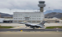 A Norwegian F-16 fighter jet takes off from Bodø air station  in Norway. The military Arctic Challenge Exercise 2015 (ACE 15) is a large crossborder exercise, with flying in Norway, Sweden and Finland. Airforce aircraft from these countries as well as NATO aircraft from Germany and Great Britain train together in a vast airspace.<br /> (photo: Fredrik Naumann/Felix Features)