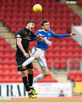 St Johnstone v Livingston….04.05.19      McDiarmid Park        SPFL<br />Murray Davidson and Declan Gallagher<br />Picture by Graeme Hart. <br />Copyright Perthshire Picture Agency<br />Tel: 01738 623350  Mobile: 07990 594431