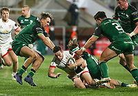 Friday 23rd April 2021; John Cooney is tackled by Ben O'Donnell during the first round of the Guinness PRO14 Rainbow Cup between Ulster Rugby and Connacht Rugby at Kingspan Stadium, Ravenhill Park, Belfast, Northern Ireland. Photo by John Dickson/Dicksondigital