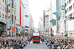 Japan Delegation (JPN), <br /> OCTOBER 7, 2016 :<br /> Japanese medalists of Rio 2016 Olympic and Paralympic Games wave to spectators during a parade from Ginza to Nihonbashi, Tokyo, Japan.<br /> (Photo by Yohei Osada/AFLO SPORT)