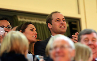 Pictured: Prince WIlliams with wife Kate Middleton on the stand. Saturday 08 November 2014<br />