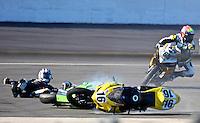 Jason DiSalvo celebrates in victory lane after winning the Daytona 200 motorcycle race at Daytona International Speedway, Daytona Beach, FL, March 2011.(Photo by Brian Cleary/www.bcpix.com)