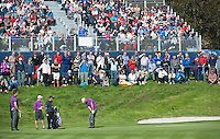 24.09.2014. Gleneagles, Auchterarder, Perthshire, Scotland.  The Ryder Cup.  Thomas Bjorn (EUR) chips on the 11th green during his practice round.
