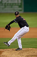 Batavia Muckdogs pitcher Geremy Galindez (34) during a NY-Penn League game against the State College Spikes on July 2, 2019 at Dwyer Stadium in Batavia, New York.  Batavia defeated State College 1-0.  (Mike Janes/Four Seam Images)