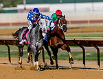 CHARLES TOWN, WEST VIRGINIA - APRIL 20: Runninto'toluvya (blue cap) #8, ridden by Oscar Flores, outduels Diamond King #3, ridden by Javier Castellano, to win the Charles Town Classic on Charles Town Classic Day at Charles Town Races and Slots in Charles Town, West VIrginia. Scott Serio/Eclipse Sportswire/CSM