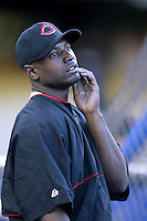 Reggie Taylor of the Cincinnati Reds before a 2002 MLB season game against the Los Angeles Dodgers at Dodger Stadium, in Los Angeles, California. (Larry Goren/Four Seam Images)