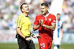 Sevilla FC's Vitolo have words with the referee Daniel Ocon Arraiz during La Liga match. October 15,2016. (ALTERPHOTOS/Acero)