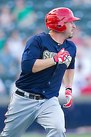 Tim Pahuta #44 of the Harrisburg Senators hustles down the first base line against the Richmond Flying Squirrels in game one of a double-header at The Diamond on July 22, 2011 in Richmond, Virginia.  The Squirrels defeated the Senators 3-1.   (Brian Westerholt / Four Seam Images)