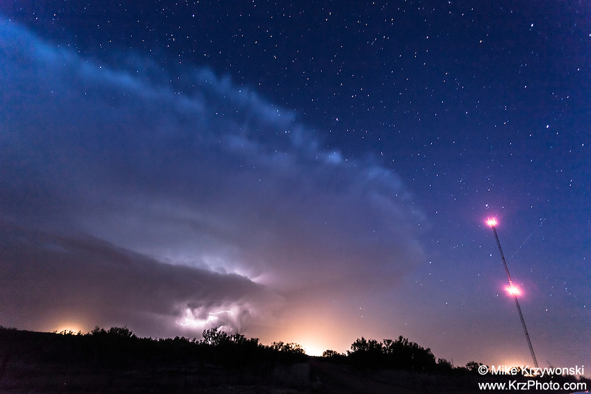 Sheared Anvil Thunderstorm Cloud at Night near Spur, TX, May 9, 2013