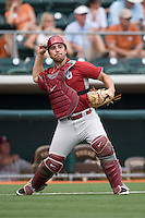 Catcher Tyler Ogle #35 of the Oklahoma Sooners warms up before the game against the Texas Longhorns in NCAA Big XII baseball on May 1, 2011 at Disch Falk Field in Austin, Texas. (Photo by Andrew Woolley / Four Seam Images)