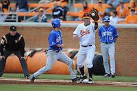First Baseman Davis Morgan #30 takes a pickoff throw during a  game against the Kentucky Wildcats at Lindsey Nelson Stadium on March 24, 2012 in Knoxville, Tennessee. The game was suspended in the bottom of the 5th with the Wildcats leading 5-0. Tony Farlow/Four Seam Images.