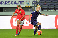 Anderlecht's midfielder Charlotte Tison (R) and Benfica's forward Cloe Lacasse (L) pictured during a female soccer game between RSC Anderlecht Dames and Portugese Benfica Ladies  in the second qualifying round for the Uefa Womens Champions League of the 2020 - 2021 season , Wednesday 18 th of November 2020  in ANDERLECHT , Belgium . PHOTO SPORTPIX.BE | SPP | DIRK VUYLSTEKE