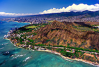 Aerial view of the famous Diamond Head Crater and surrounding area.