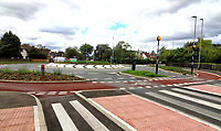 Britain's first Dutch-style roundabout, which prioritises cyclists and pedestrians, opened recently in Cambridge at a cost of £2.3 million<br /> Cyclists have an outer ring on the roundabout, with cycle crossings over each of the four approach roads in a contrasting red surface. Cambridge, UK on August 26th 2020<br /> <br /> Photo by Keith Mayhew