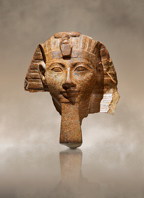 Ancient Egyptian statue head of Queen Hatshepsut or King Thutmose III. Ancient Egypt 18th Dynaty, 1460-1450 BC. Neues Museum Berlin Cat No: AM 34431.