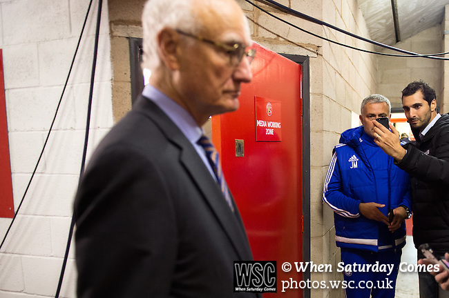 Walsall 1 Chelsea 4, 23/09/2015. Bescot Stadium, Capital One Cup Third Round. League One Walsall host struggling Premier League Chelsea. After drawing the Londoners, Saddlers supporters sold out the Bescot Stadium hoping for an upset. The match was watched by 10,525. Chelsea Chairman Bruce Buck waits for Jose Mourinho in the media zone after the game. Photo by Simon Gill.