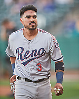 Juniel Querecuto (3) of the Reno Aces during the game against the Salt Lake Bees at Smith's Ballpark on May 6, 2021 in Salt Lake City, Utah. The Aces defeated the Bees 5-4. (Stephen Smith/Four Seam Images)