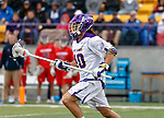 Troy Reh (#10) carries the ball forward into the attack as UAlbany Men's Lacrosse defeats Richmond 18-9 on May 12 at Casey Stadium in the NCAA tournament first round.