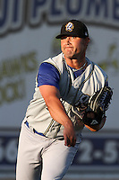 Ryan Acosta #7 of the Rancho Cucamonga Quakes warms up before pitching against the Lancaster JetHawks at Clear Channel Stadium on August 22, 2012 in Lancaster, California. Rancho Cucamonga defeated Lancaster 8-7. (Larry Goren/Four Seam Images)
