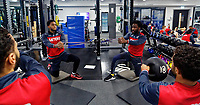 (L-R) Leroy Fer and Wilfried Bony exercise in the gym during the Swansea City Training at The Fairwood Training Ground, Swansea, Wales, UK. Thursday 04 January 2018