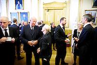 Oslo, 20110801. Dag Terje Andersen, Kong Harald, den britiske ambassadøren Jane Owen, Kronprins Haakon, Liv Signe Navarsete, Jens Stoltenberg. Minnestund på Stortinget. Terror i Oslo. Foto: Eirik Helland Urke / Dagbladet