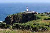 Leuchturm von Topo auf der Insel Sao Jorge, Azoren, Portugal
