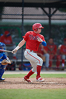 Philadelphia Phillies Mitchell Edwards (19) at bat during an Instructional League game against the Toronto Blue Jays on September 27, 2019 at Englebert Complex in Dunedin, Florida.  (Mike Janes/Four Seam Images)