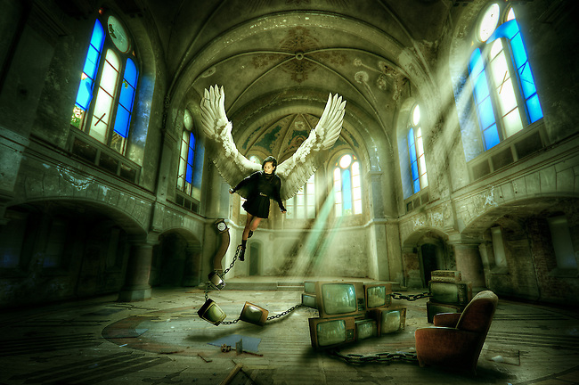 Photo manipulation<br /> Conceptual, braking away from religion life and time