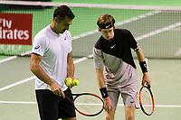 Rotterdam, Netherlands, 12 Februari, 2018, Ahoy, Tennis, ABNAMROWTT, Andrey Rublev (RUS) / Nedad Zimonjic (SRB)<br /> Photo:tennisimages.com