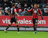 Joshua King of Bournemouth (R) celebrates his opening goal with team mate Steve Cook (L) during the Barclays Premier League match between Swansea City and Bournemouth at the Liberty Stadium, Swansea on November 21 2015