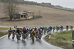 The peleton in action during the 2018 Strade Bianche Women Elite NamedSport race running 136km from Siena to Siena, Italy. 3rd March 2018.<br /> Picture: LaPresse/Fabio Ferrari | Cyclefile<br /> <br /> <br /> All photos usage must carry mandatory copyright credit (© Cyclefile | LaPresse/Fabio Ferrari)