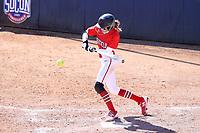 GREENSBORO, NC - FEBRUARY 22: Amanda Ulzheimer #7 of Fairfield University hits the ball during a game between Fairfield and North Carolina at UNCG Softball Stadium on February 22, 2020 in Greensboro, North Carolina.