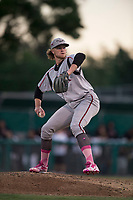 Lake Elsinore Storm starting pitcher Chris Paddack (25) delivers a pitch to the plate during a California League game against the Modesto Nuts at John Thurman Field on May 12, 2018 in Modesto, California. Lake Elsinore defeated Modesto 4-1. (Zachary Lucy/Four Seam Images)