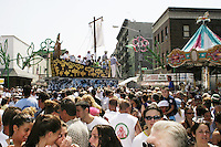 """The """"Boat"""" makes its way down the street at the annual Feast of Our Lady of Mount Carmel and the Dancing of the Giglio in Brooklyn, NY, on July 11, 2004."""