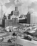 Pittsburgh PA: View of the crosstown boulevard (interstate 579) construction.  This federal project was part of the Renaissance I development in Pittsburgh.  The project was to alleviate traffic from the new Civic Arena.
