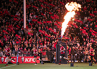 The Crusaders run out for the 2021 Super Rugby Aotearoa final between the Crusaders and Chiefs at Orangetheory Stadium in Christchurch, New Zealand on Saturday, 8 May 2021. Photo: Joe Johnson / lintottphoto.co.nz