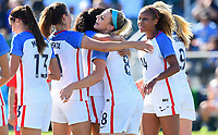 Cary, NC - Sunday October 22, 2017: Christen Press, Kelly O'Hara and Julie Ertz celebrate a goal during an International friendly match between the Women's National teams of the United States (USA) and South Korea (KOR) at Sahlen's Stadium at WakeMed Soccer Park.