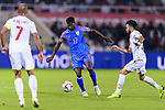 Rowllin Borges of India (C) is challenged by Komail Hasan Alaswad of Bahrain during the AFC Asian Cup UAE 2019 Group A match between India (IND) and Bahrain (BHR) at Sharjah Stadium on 14 January 2019 in Sharjah, United Arab Emirates. Photo by Marcio Rodrigo Machado / Power Sport Images