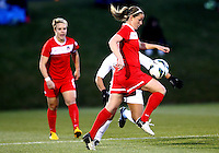BOYDS, MARYLAND - April 06, 2013:  Hayley Siegel (17) of The Washington Spirit juggles the ball against the University of Virginia women's soccer team in a NWSL (National Women's Soccer League) pre season exhibition game at Maryland Soccerplex in Boyds, Maryland on April 06. Virginia won 6-3.