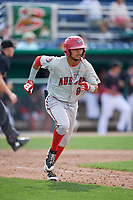 Auburn Doubledays shortstop Jose Sanchez (9) runs to first base during a game against the Batavia Muckdogs on September 1, 2018 at Dwyer Stadium in Batavia, New York.  Auburn defeated Batavia 10-5.  (Mike Janes/Four Seam Images)