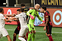 ATLANTA, GA - SEPTEMBER 02: Ben Sweat #22 of Inter Miami CF and Jurgen Damm #22 of Atlanta United FC are separated by teammates after an argument during a game between Inter Miami CF and Atlanta United FC at Mercedes-Benz Stadium on September 02, 2020 in Atlanta, Georgia.