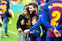 FC Barcelona Lionel Messi and his girlfriend Antonela Roccuzzo celebrating the championship during King's Cup Finals match between Sevilla FC and FC Barcelona at Wanda Metropolitano in Madrid, Spain. April 21, 2018. (ALTERPHOTOS/Borja B.Hojas)