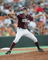 Texas A&M Freshman Pitcher Brooks Raley delivers against Texas on May 16th, 2008 in Austin Texas. Photo by Andrew Woolley / Four Seam images.