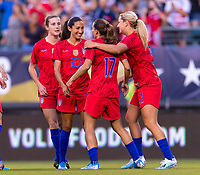 PHILADELPHIA, PA - AUGUST 29: Christen Press #23 and Tobin Heath #17 of the United States celebrate during a game between Portugal and the USWNT at Lincoln Financial Field on August 29, 2019 in Philadelphia, PA.