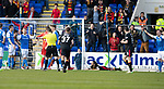 St Johnstone v Partick Thistle…28.04.18…  McDiarmid Park    SPFL<br />Referee Alan Muir points to the penalty sport after Ryan Edwards was brought down by Liam Craif<br />Picture by Graeme Hart. <br />Copyright Perthshire Picture Agency<br />Tel: 01738 623350  Mobile: 07990 594431