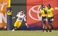 San Francisco, CA - October 13, 2011: USC linebacker Dion Bailey (18) celebrates his interception. Cal Bears vs USC at AT&T Park in San Francisco, California. Final score Cal Bears 9, USC 30.